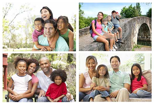 Four families shown in a collage layout
