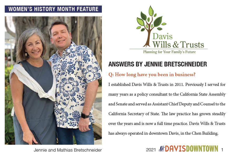Downtown Davis interviews DWT firm attorney Jennie Bretschneider as a Women's History Month feature